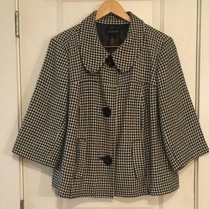 🔘 Lane Bryant Wool Black White Pea Coat 3XL